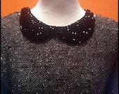 black color peter pan handmade collar necklace. high quality custom jewelry beaded