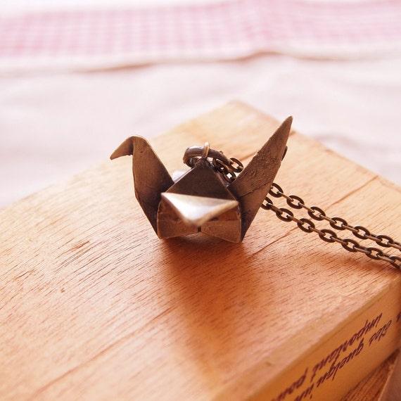 Antique Brass Origami Bird Necklace