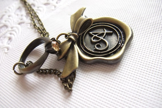 Waxed Seal Initial A Pendant withh Ring - Long Necklace