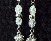 Crackle Beads & Hearts Dangle Earrings