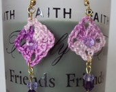 Crocheted Lace Granny Squares & Swarovski Crystals Earrings