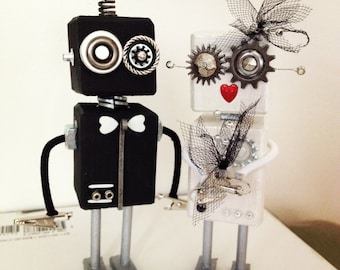 Robot Bride and Groom Wedding Cake Topper