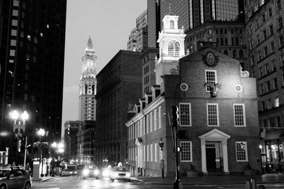 8x10 Boston's Old State House and Custom House Clock Tower