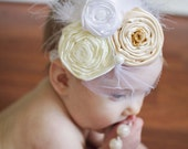 Graceful Baby Headband,Baptism,Christening feather Headband-Vintage Look,Flowered headband for infants,Newborn/Baby/Toddler/Girl-Photo Prop