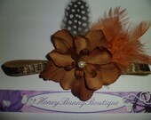 Fiery brown-Flower headband for infants,Newborn,feather,Baby feather headband, Baby/Girl-Photo Prop