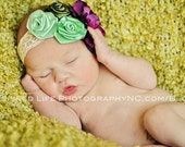Green and mauve color combination-Vintage Look.bead, Flowered headband for infants,Newborn Toddler/Baby Girl-Photo Prop