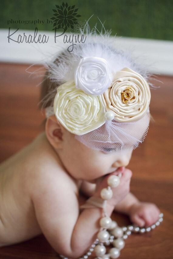 Graceful Baby Headband,Baptism,Christening feather Headband-Vintage Look,Flowered headband for infants,Newborn/Baby/Toddler/Girl-Photo Prop