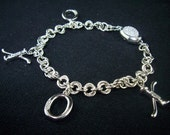 Diamond Accented X's & O's Charms, Chainmail Charm Bracelet, Argentium, Sterling Silver, OOAK, Wedding