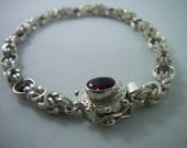 Garnet Beaded, Sterling Silver Chainmaille Bracelet with Tourmaline Sterling Box Clasp, Square-Wire Byzantine