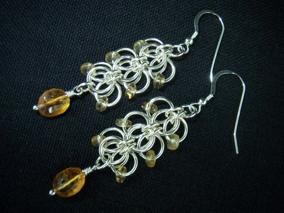 Orchid Weave Chainmaille Earrings Sterling Silver & Citrine