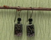 Etched Rectangle Earrings with Purple and Black