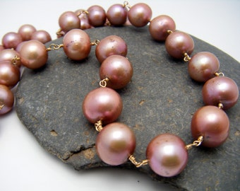 Freshwater Pearl Necklace, Iridescent Petal Pink Pearls, 14K Gold Fill, Wire Wrapped, Luxury