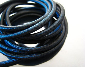A199 - 1 Yard of 3mm Black Jet Round Stretch Elastic Drawcord Rope Cord