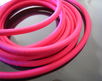 A180 - 1 Yard of 3mm Hot  Pink Round Stretch Elastic Drawcord Rope Cord