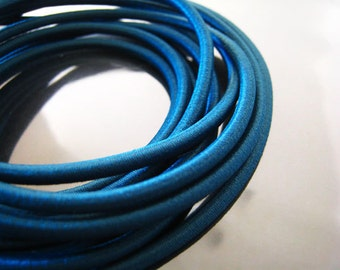 A168 - 1 Yard of 3mm Tahitian Look Blue Round Stretch Elastic Drawcord Rope Cord
