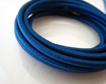 A192 - 5 Yards of 3mm Denim Blue Round Stretch Elastic Drawcord Rope Cord