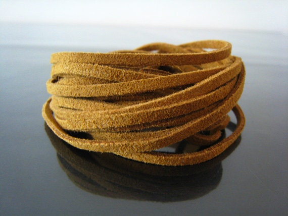 1 Yard of 3mm Brown Flat Suede Lace