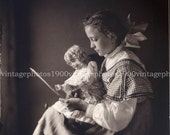 Girl Reading to Her Doll Portrait, Gelatin Silver Photograph Printed from Antique Glass Plate Negative