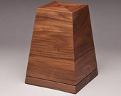 Cremation urn - Walnut Obelisk urn with pedestal base