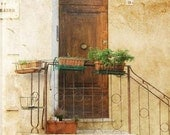 Italian door Tuscany, Italy pastel yellows and browns 8x10 fine art print
