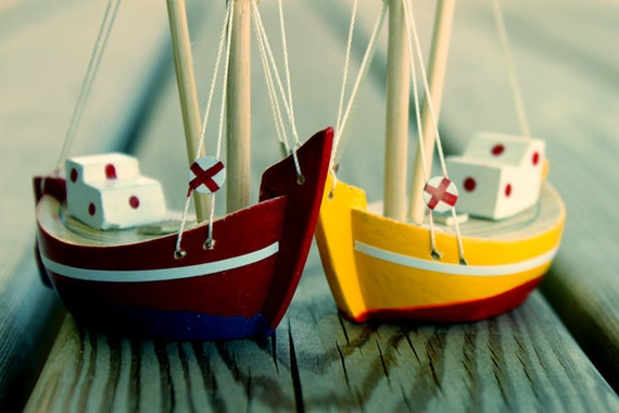 Free Shipping - Wooden Boats - Set of 2