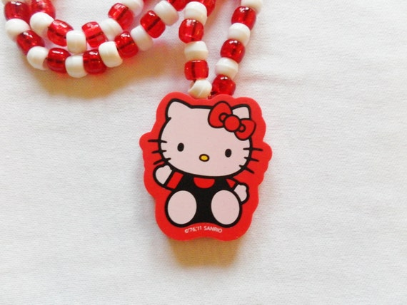 CLEARANCE 50 PERCENT OFF Original Price - Red and White Hello Kitty Eraser Necklace