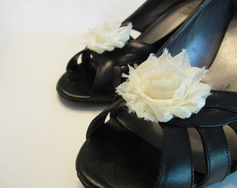 Shabby Chic Ivory Cream Chiffon Rosette Shoe Clips. Wedding Photo Prop Toddlers Girls Women