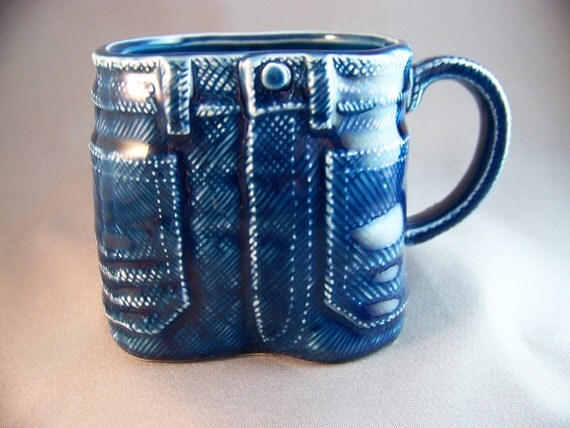 Vintage Blue Denim Jeans Ceramic Coffee Mug Tea Cup Bens Inc.