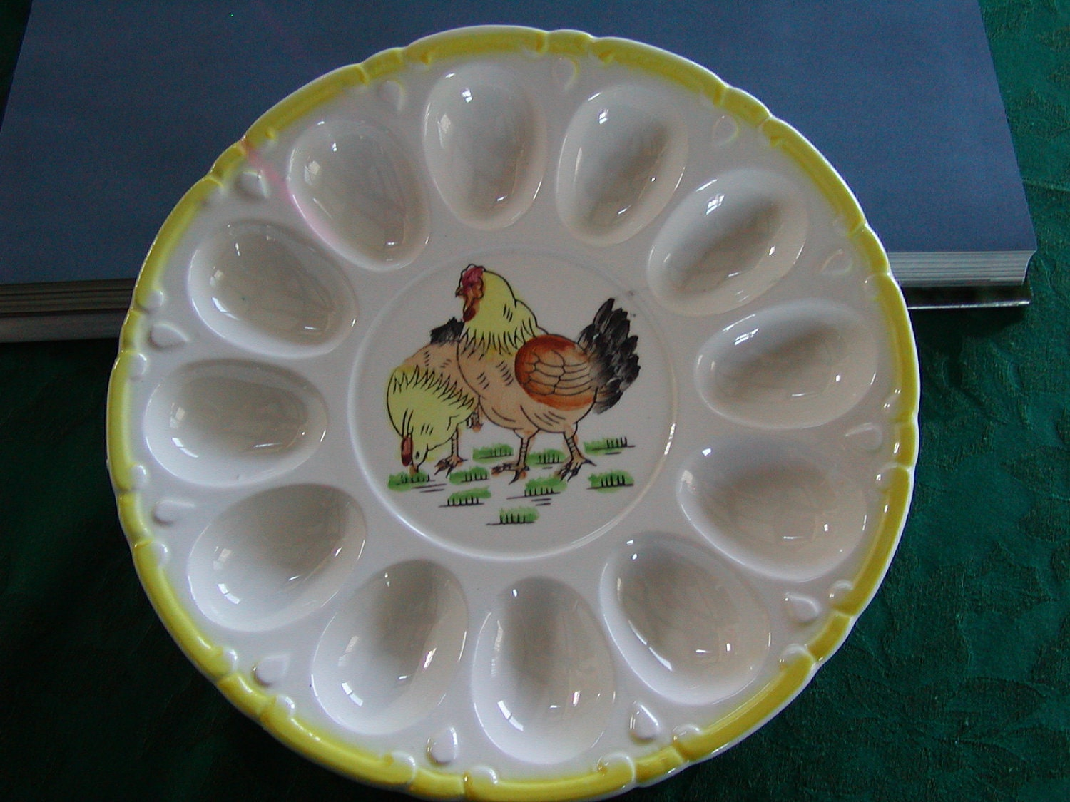 Vintage Deviled Egg Dish Plate Ceramic With Hand Painted Hens