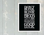 Printing Error Discount - Doctor Who - New Series - BLINK - Don't Blink Quote - Tenth Doctor - David Tennant - 11x14 - BLACK
