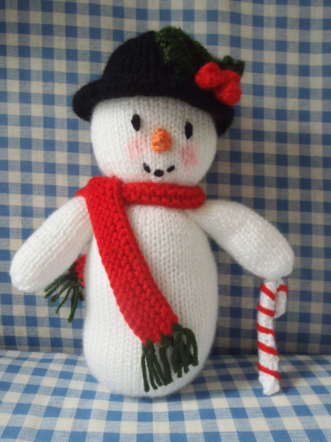 Snowman Hat Knitting Pattern : Hand Knitted Snowman . Christmas Decoration. Jean Greenhowe
