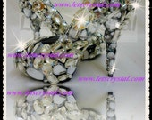 Closed toe pump assorted crystal swarovski fancy stones crazy high heel shoes