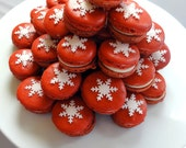 French Macaron Christmas Snow Flake ORGANIC Gluten Free 7 pcs