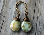 Green Picasso Czech Glass Smooth Teardrop with Antiqued Brass Wire Wrapped Earrings
