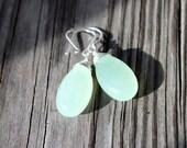 Celadon Green Jade Gems Teardrop Briolettes Sterling Silver Dangle Earrings