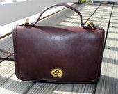 Authentic Classic Vintage Coach - Dark Brown Leather Casino Cross body Coach Bag/Purse/ Handbag