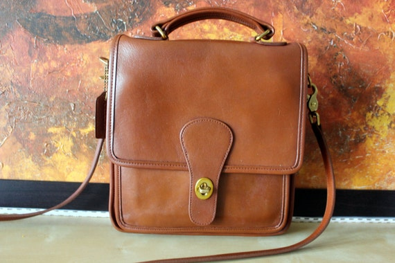 Authentic Classic Vintage Coach Bag - Brown Coach Station Bag Cross Body with Hand Strap and Shoulder Strap