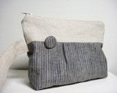 Pleated Wristlet, Gray Stripes 100% Linen Fabric