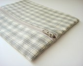 Zippered Pouch, Gray Gingham Check Cotton Fabric