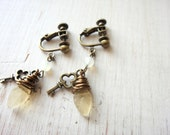 Yellow Leaf Clip Earring, Key Charm Clip On, screw back Clip On Earrings, Kawaii Clip On