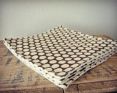 Fabric Coasters, Cream Dots on Brown Cotton & Beige Linen Fabric (Set of 4), Reversible Coasters