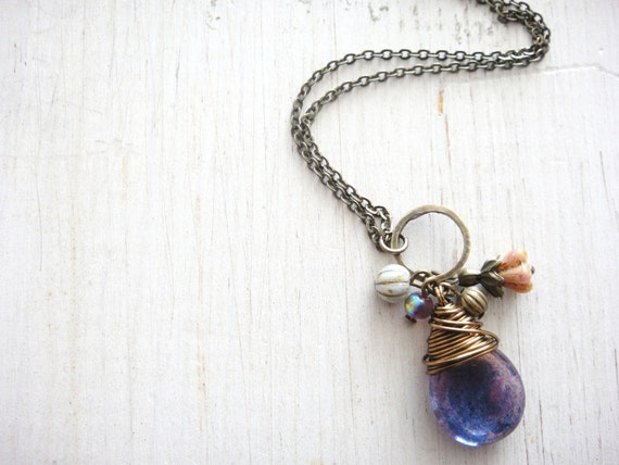 Amethyst teardrop Necklace, Czech teardrop bead wire wrapped in antique brass wire