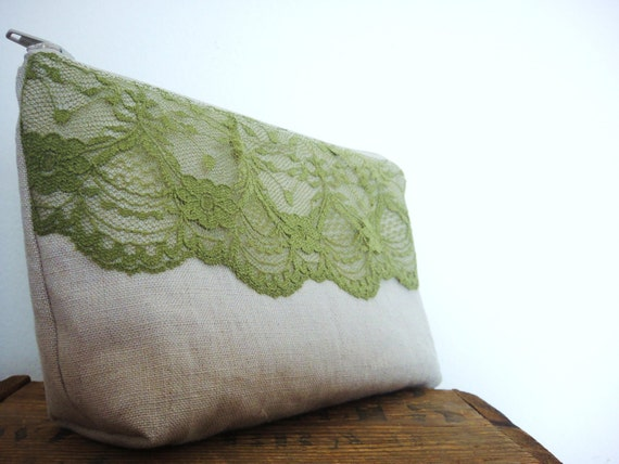 Zipper Pouch, 100% Linen with Sage Lace, Cosmetic Pouch, Green