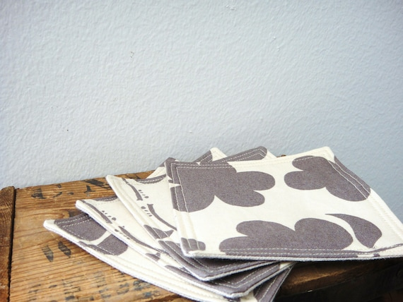 Fabric Coasters-Brown/Grey Flower Cotton & Beige Linen Fabric(Set of 4), Reversible coasters