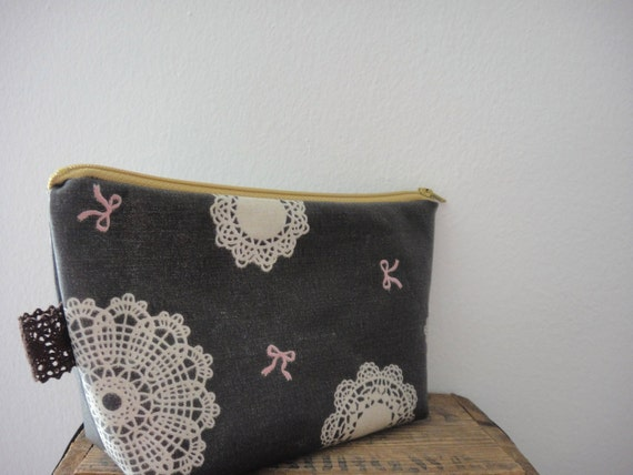 Laminated Cosmetic Pouch, Chocolate Brown Lace & Ribbon Design