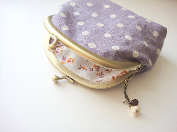 Coin Purse, White Polka Dots on Purple, metal frame coin purse