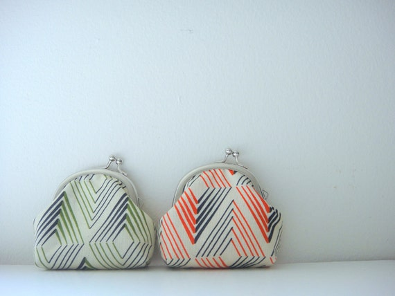 Coin Purse, Red/Orange and Navy Diamond, metal frame coin purse, small