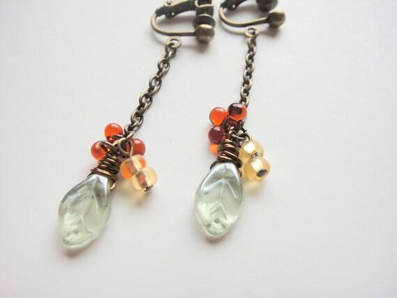 Green Leaf Clip Earring, screw back clip on, Dangle Clip-On Earrings