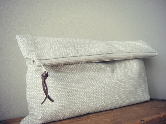 Light Brown Triangle Travel Pouch(Large), Clutch, Zipper Pouch