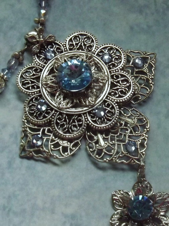 Silver Filigree pendant  with Blue Topaz crystals